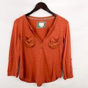 Anthropologie Postmark Burnt Orange Pocket Shirt